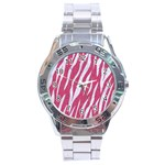 SKIN3 WHITE MARBLE & PINK DENIM Stainless Steel Analogue Watch Front