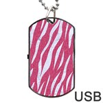 SKIN3 WHITE MARBLE & PINK DENIM Dog Tag USB Flash (One Side) Front