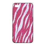 SKIN3 WHITE MARBLE & PINK DENIM Apple iPhone 4/4s Seamless Case (Black) Front