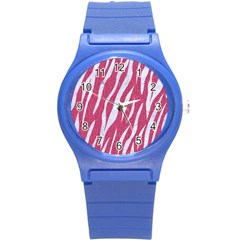 Skin3 White Marble & Pink Denim Round Plastic Sport Watch (s)