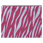 SKIN3 WHITE MARBLE & PINK DENIM Cosmetic Bag (XXXL)  Front