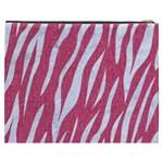 SKIN3 WHITE MARBLE & PINK DENIM Cosmetic Bag (XXXL)  Back