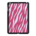SKIN3 WHITE MARBLE & PINK DENIM Apple iPad Mini Case (Black) Front