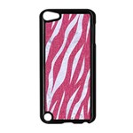 SKIN3 WHITE MARBLE & PINK DENIM Apple iPod Touch 5 Case (Black) Front