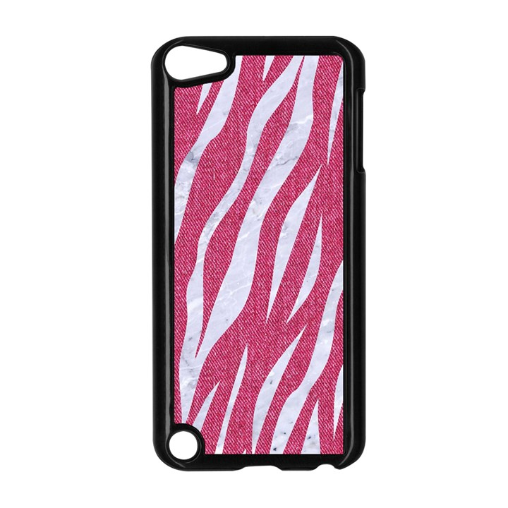 SKIN3 WHITE MARBLE & PINK DENIM Apple iPod Touch 5 Case (Black)