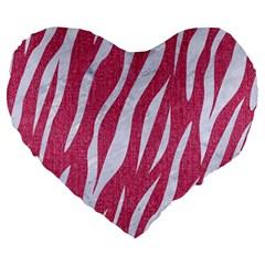 SKIN3 WHITE MARBLE & PINK DENIM Large 19  Premium Heart Shape Cushions