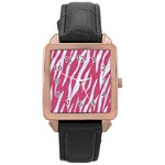 SKIN3 WHITE MARBLE & PINK DENIM Rose Gold Leather Watch  Front