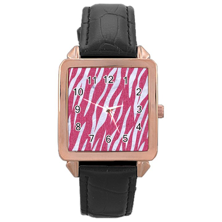 SKIN3 WHITE MARBLE & PINK DENIM Rose Gold Leather Watch