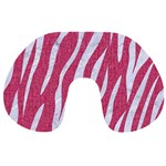 SKIN3 WHITE MARBLE & PINK DENIM Travel Neck Pillows Front