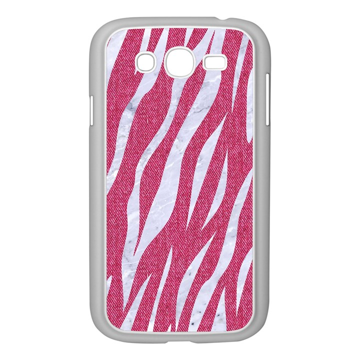 SKIN3 WHITE MARBLE & PINK DENIM Samsung Galaxy Grand DUOS I9082 Case (White)