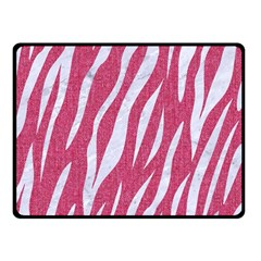 Skin3 White Marble & Pink Denim Double Sided Fleece Blanket (small)
