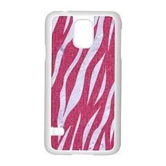 SKIN3 WHITE MARBLE & PINK DENIM Samsung Galaxy S5 Case (White)
