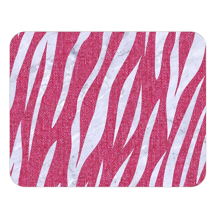 SKIN3 WHITE MARBLE & PINK DENIM Double Sided Flano Blanket (Large)