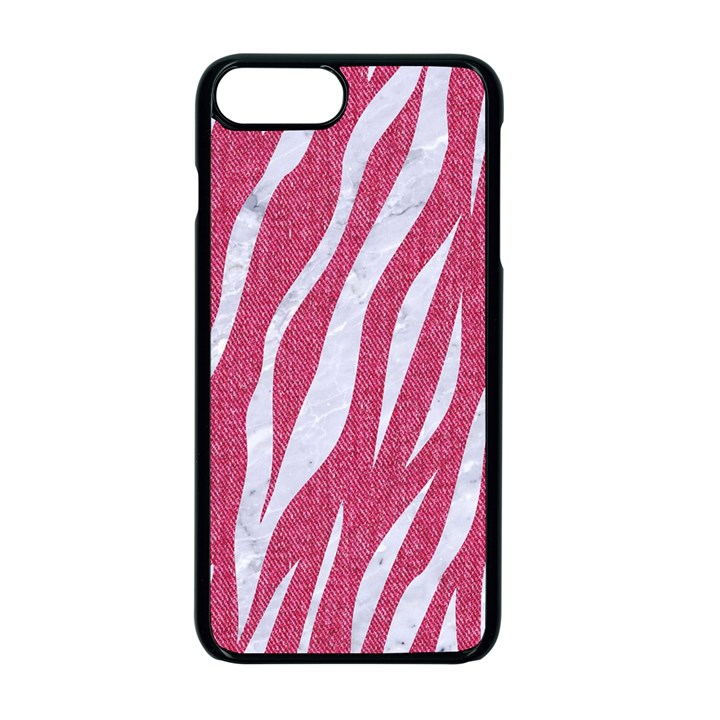SKIN3 WHITE MARBLE & PINK DENIM Apple iPhone 7 Plus Seamless Case (Black)