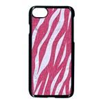 SKIN3 WHITE MARBLE & PINK DENIM Apple iPhone 7 Seamless Case (Black) Front