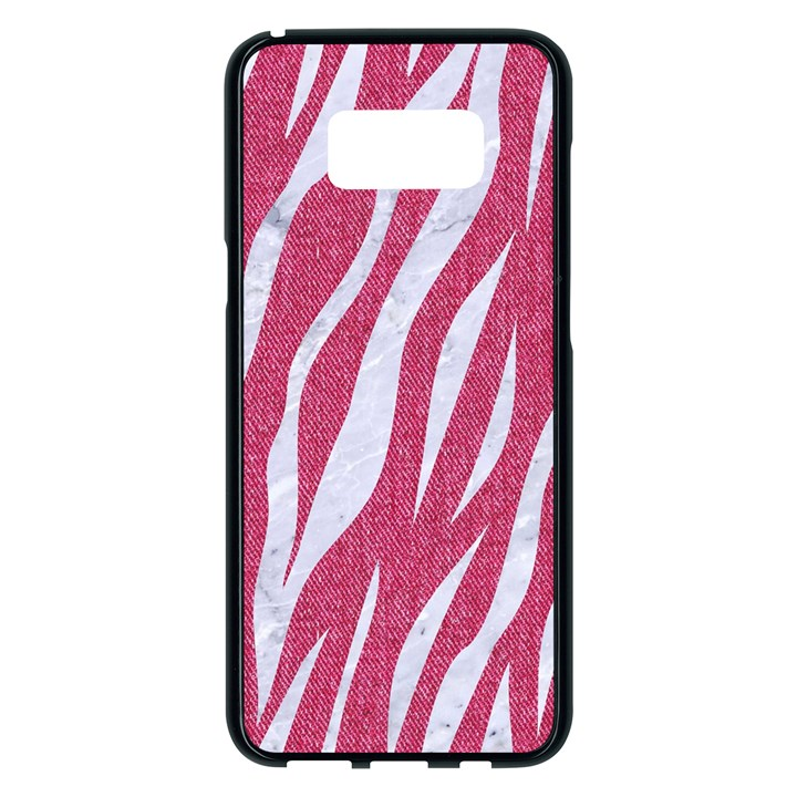 SKIN3 WHITE MARBLE & PINK DENIM Samsung Galaxy S8 Plus Black Seamless Case
