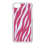 SKIN3 WHITE MARBLE & PINK DENIM Apple iPhone 8 Seamless Case (White) Front