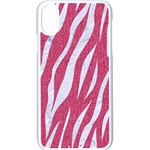 SKIN3 WHITE MARBLE & PINK DENIM Apple iPhone X Seamless Case (White) Front