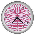 SKIN2 WHITE MARBLE & PINK DENIM (R) Wall Clocks (Silver)  Front