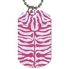 Skin2 White Marble & Pink Denim (r) Dog Tag (two Sides) by trendistuff