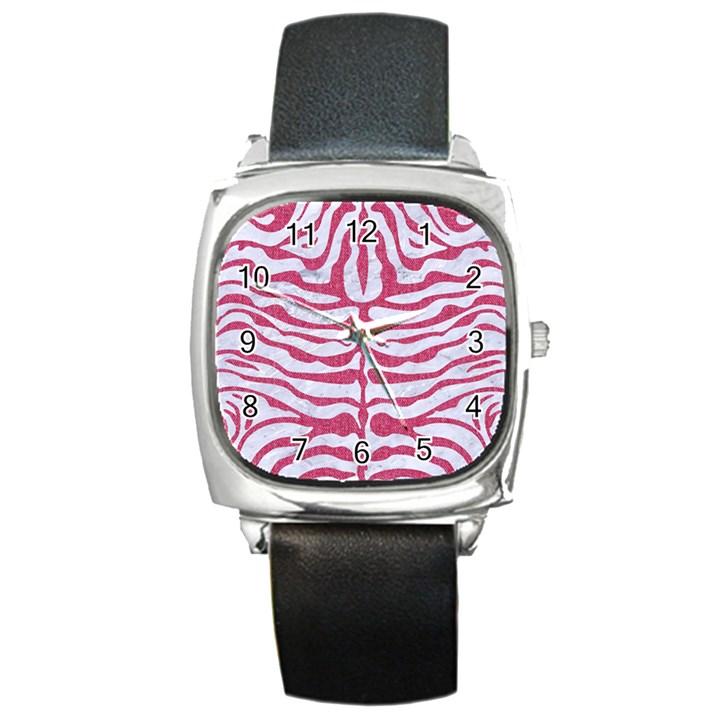 SKIN2 WHITE MARBLE & PINK DENIM (R) Square Metal Watch