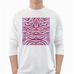 SKIN2 WHITE MARBLE & PINK DENIM (R) White Long Sleeve T-Shirts Front