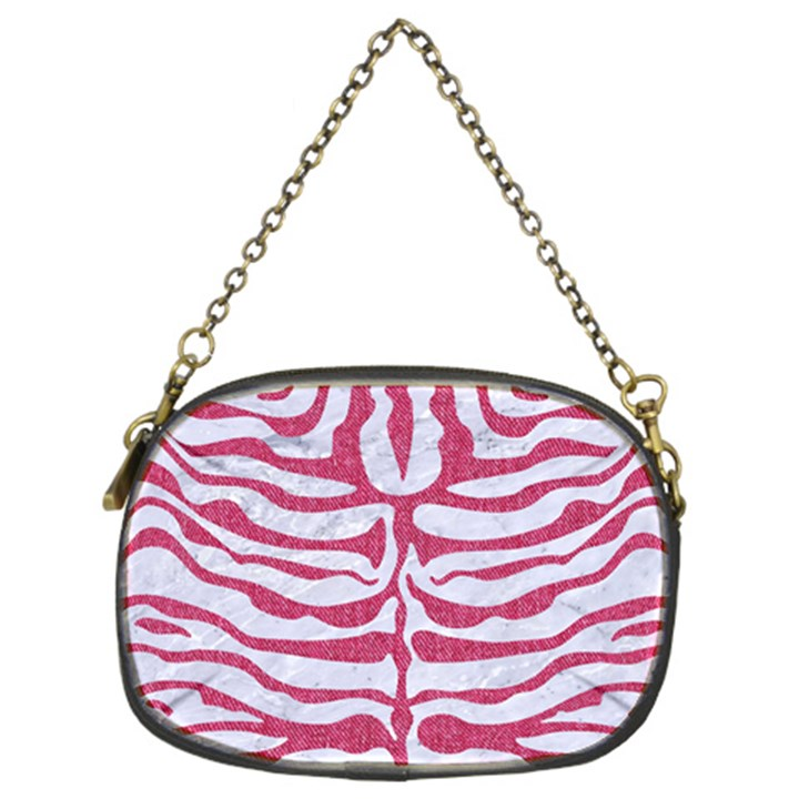 SKIN2 WHITE MARBLE & PINK DENIM (R) Chain Purses (Two Sides)