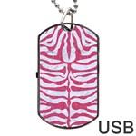 SKIN2 WHITE MARBLE & PINK DENIM (R) Dog Tag USB Flash (One Side) Front