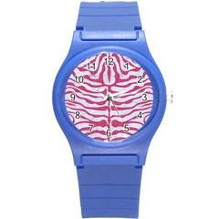 Skin2 White Marble & Pink Denim (r) Round Plastic Sport Watch (s)