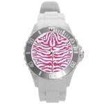 SKIN2 WHITE MARBLE & PINK DENIM (R) Round Plastic Sport Watch (L) Front