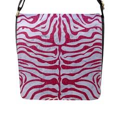 Skin2 White Marble & Pink Denim (r) Flap Messenger Bag (l)
