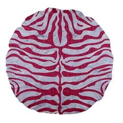 SKIN2 WHITE MARBLE & PINK DENIM (R) Large 18  Premium Flano Round Cushions