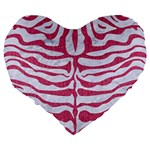 SKIN2 WHITE MARBLE & PINK DENIM (R) Large 19  Premium Flano Heart Shape Cushions Back
