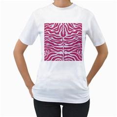 SKIN2 WHITE MARBLE & PINK DENIM Women s T-Shirt (White) (Two Sided)