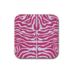 Skin2 White Marble & Pink Denim Rubber Square Coaster (4 Pack)