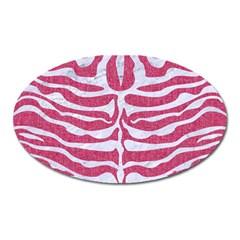 Skin2 White Marble & Pink Denim Oval Magnet by trendistuff