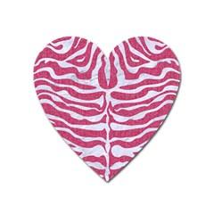 Skin2 White Marble & Pink Denim Heart Magnet by trendistuff