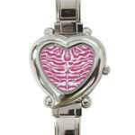 SKIN2 WHITE MARBLE & PINK DENIM Heart Italian Charm Watch Front