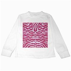 SKIN2 WHITE MARBLE & PINK DENIM Kids Long Sleeve T-Shirts