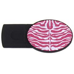 Skin2 White Marble & Pink Denim Usb Flash Drive Oval (4 Gb)