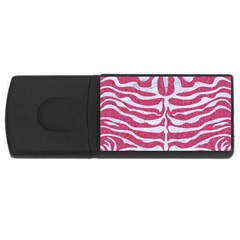 Skin2 White Marble & Pink Denim Rectangular Usb Flash Drive