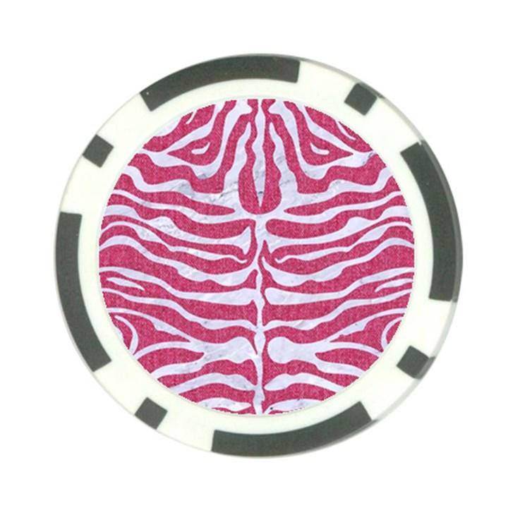 SKIN2 WHITE MARBLE & PINK DENIM Poker Chip Card Guard