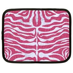Skin2 White Marble & Pink Denim Netbook Case (xl)