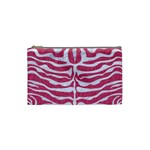 SKIN2 WHITE MARBLE & PINK DENIM Cosmetic Bag (Small)  Front