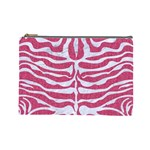 SKIN2 WHITE MARBLE & PINK DENIM Cosmetic Bag (Large)  Front