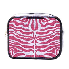 Skin2 White Marble & Pink Denim Mini Toiletries Bags by trendistuff