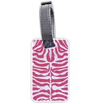 SKIN2 WHITE MARBLE & PINK DENIM Luggage Tags (Two Sides) Back