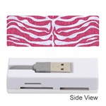 SKIN2 WHITE MARBLE & PINK DENIM Memory Card Reader (Stick)  Front