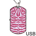 SKIN2 WHITE MARBLE & PINK DENIM Dog Tag USB Flash (Two Sides) Front