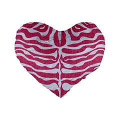 SKIN2 WHITE MARBLE & PINK DENIM Standard 16  Premium Heart Shape Cushions